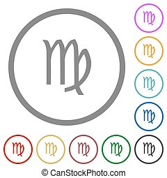 virgo zodiac symbol flat icons with outlines