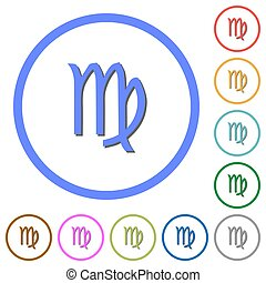 virgo zodiac symbol icons with shadows and outlines