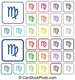 virgo zodiac symbol outlined flat color icons