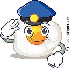 viril, oeuf, frit, officier, fonctionnement, police, dessin ...