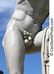 Virile statue - Detailed view of the front side of a virile...