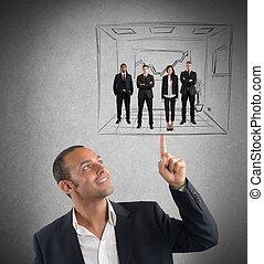 virksomhedsleder, det opererer, hos, enkelhed
