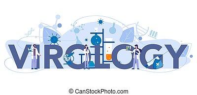 Virology typographic header concept. Scientist studies ...