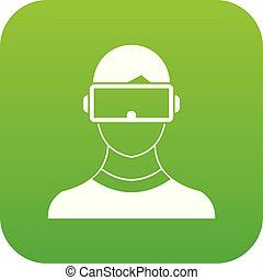 Virtual 3d reality goggles icon digital green for any design...