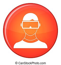 Virtual 3d reality goggles icon, flat style - Virtual 3d...
