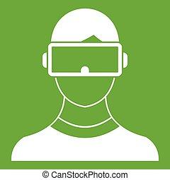 Virtual 3d reality goggles icon green - Virtual 3d reality...