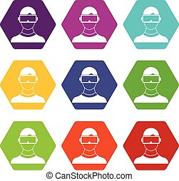 Virtual 3d reality goggles icon set color hexahedron -...