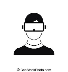 Virtual 3d reality goggles icon, simple style - Virtual 3d...
