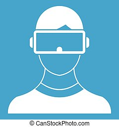 Virtual 3d reality goggles icon white isolated on blue...