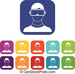 Virtual 3d reality goggles icons set vector illustration in...