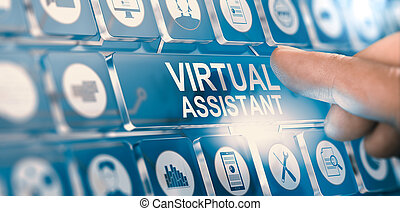 Finger pressing a digital button with the text virtual assistant. Concept of personal PA services. Composite between a hand photography and a 3D background