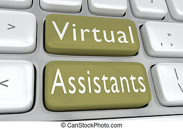Virtual Assistants concept - 3D illustration of computer...