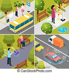 Virtual Augmented Reality Isometric Icon Set - Four square...