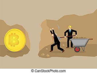 Virtual bitcoin cryptocurrency mining concept. - Businessmen...