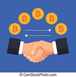 Virtual bitcoin deal handshake concept. Vector flat cartoon illustration