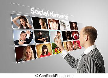 virtual, botões, apertando, fundo, social, homem negócios