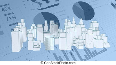 Virtual buildings in a city with background of different statistics and graphs