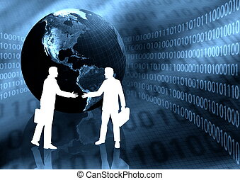 Virtual Business Handshake - Two businessman makin a deal in...