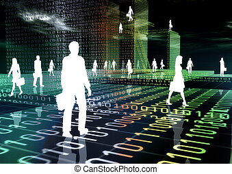 People doing business activity in virtual world