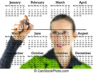 Virtual calendar with a woman writing in copyspace