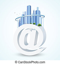 illustration of virtual city with building on mail symbol