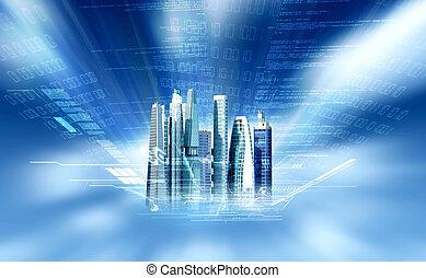 virtual, ciudad, concepto