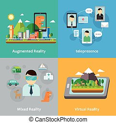 virtual, colección, concepto, realidad