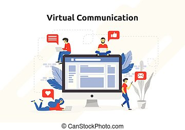 Virtual communication concept modern flat design. Vector illustration
