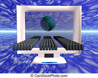Virtual computer virus spread. - Illustration of a computer...