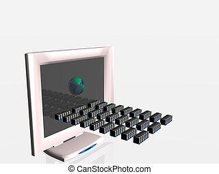Virtual computer virus spread.