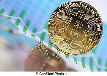 Virtual cryptocurrency concept, Bitcoin gold coin