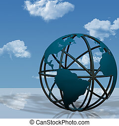 3D Illustration of a virtual globe sculpture of the Earth, as on a business plaza.