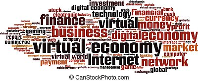Virtual economy word cloud concept. Vector illustration