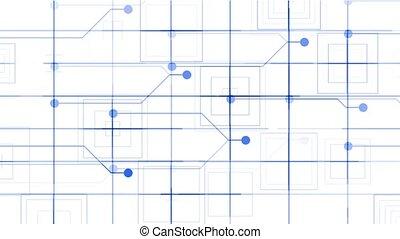 virtual electric circuit, tech power lines grid & circle.