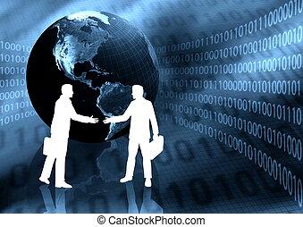 virtual, empresa / negocio, apretón de manos