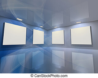 Contemporary virtual interior with blank frames for your exhibition.