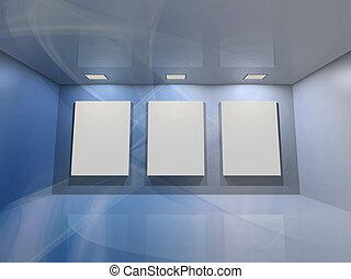 Virtual gallery - blue - Contemporary virtual interior with...