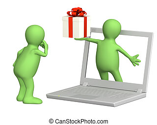 Virtual gift. 3d puppet with gift and laptop