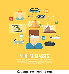 Virtual Glasses Flat - Virtual glasses concept with...