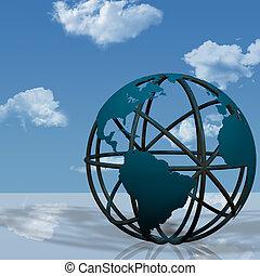 virtual, globo de la tierra, escultura