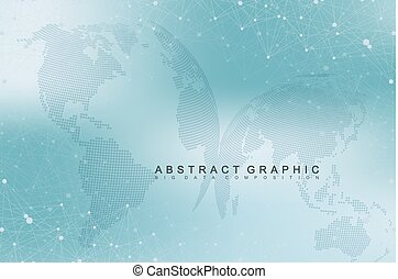 Virtual graphic background with world globes. Global network connection. Digital data visualization. Connection two hemisphere of the planet Earth. Vector illustration.