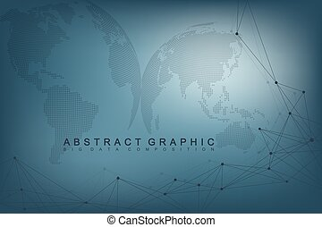 Virtual Graphic Background with World Globes. Global network. Digital data visualization. Connection two hemisphere of the planet Earth. Vector illustration.