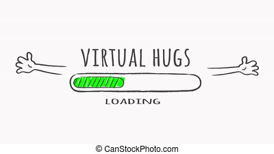 Virtual hugs loading status bar with cartoon sketchy shaking hands. Motivatonal, encouragement concept. Hand drawn progress bar.