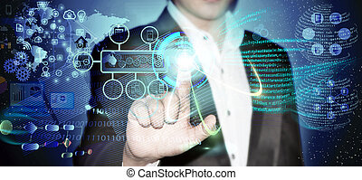 Business man touching the process - Virtual image of a...