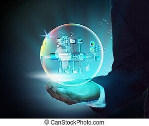 virtual, imagen, ilustración, de, empresa, servicio, autobús, con, globo, en, un, hombre de negocios, mano