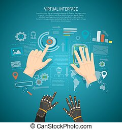 Virtual interface design concept with man hands and wired gloves transmitting tactile sensation flat vector illustration