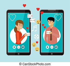 Virtual love. Online chat. Man and woman are texting in the messenger
