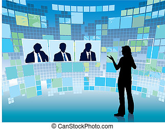Business meeting in a virtual space, vector illustration.