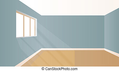 Virtual model room with natural sun light coming from windows