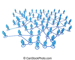 virtual net connection - 3d blue people on virtual web...